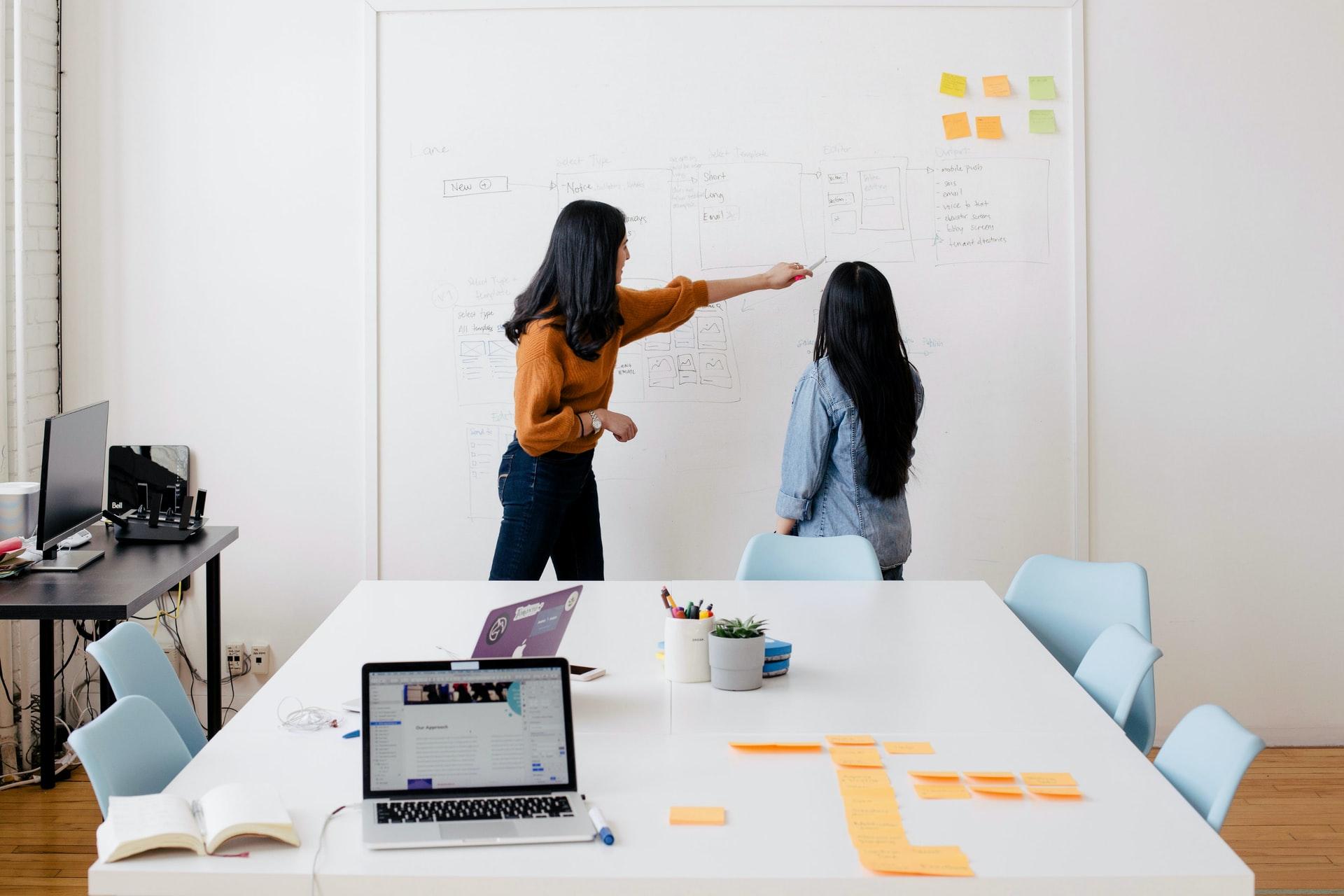 mulheres desenvolvem estratégia com metodologia scrum