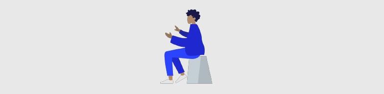 Ilustração de mulher negra sendata e falando