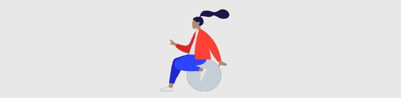 Ilustração de mulher em cadeira de rodas