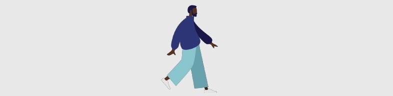 Ilustração de homem negro caminhando